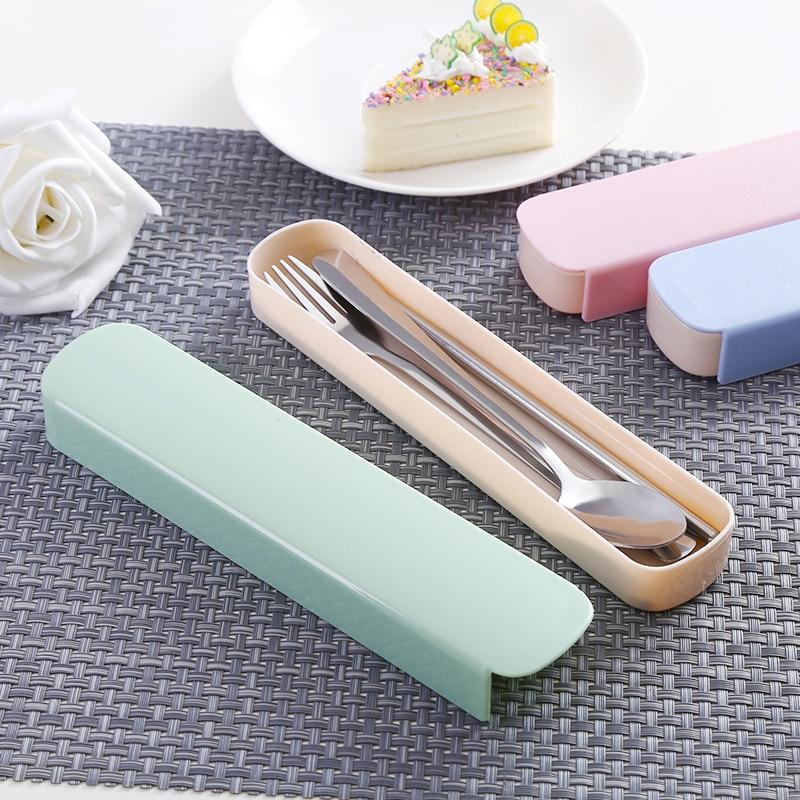 Juego de tenedor cuchara reutilizable, cubertería de viaje, caja de cubiertos, cubiertos de cocina portátil, JJ60DC