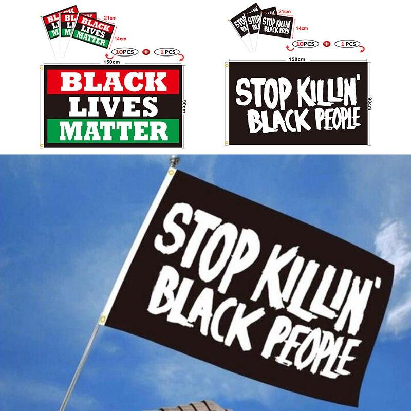 1 Set Black Lives Matter I CANT BREATHE Flags BLM Against Violent Law Enforcement