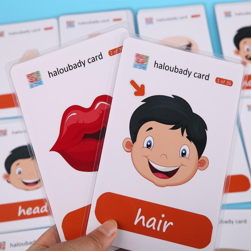 Lote de 36 unidades de tarjetas con palabras para aprender inglés, tarjetas Flash de partes corporales para niños, tarjetas Flash para educación temprana para bebés, ayuda para enseñanza de profesores