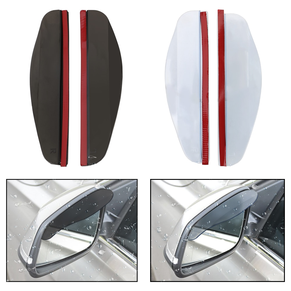 LEEPEE 2 piezas Universal ceja lluvia cubierta coche pantalla para lluvia del espejo retrovisor Flexible PVC espejo sol Visor coche retrovisor