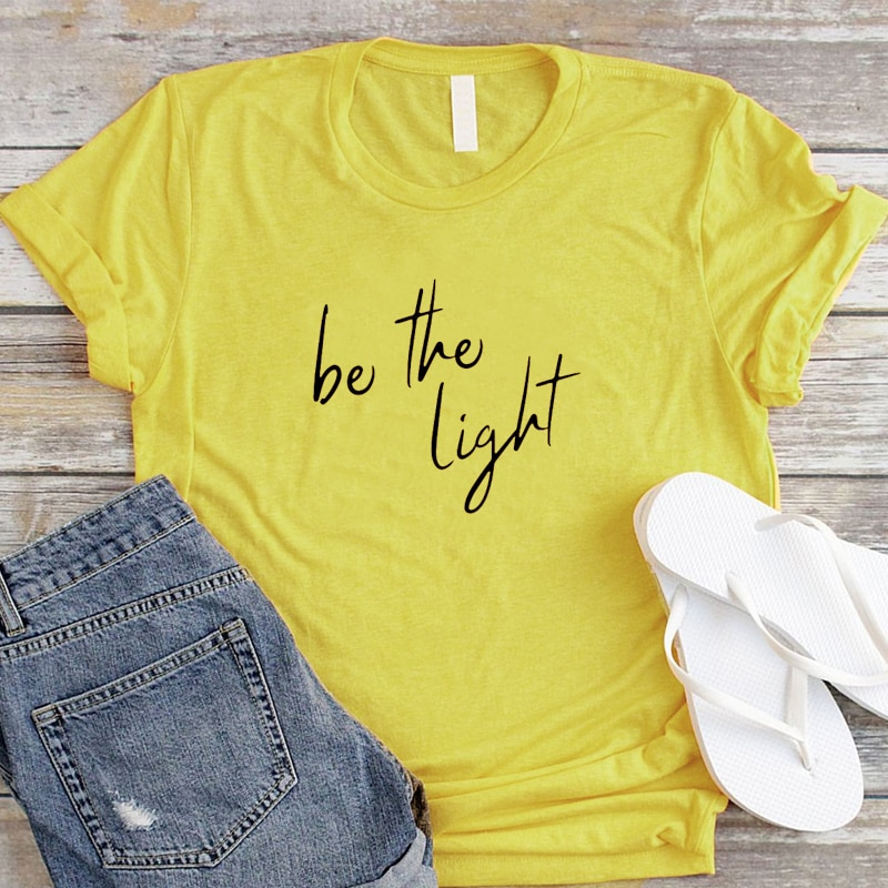 Be The Light Unisex ropa camiseta elegante manga corta 100% algodón camiseta Biblia verso gráfico cristiano Jesús Grunge camisetas