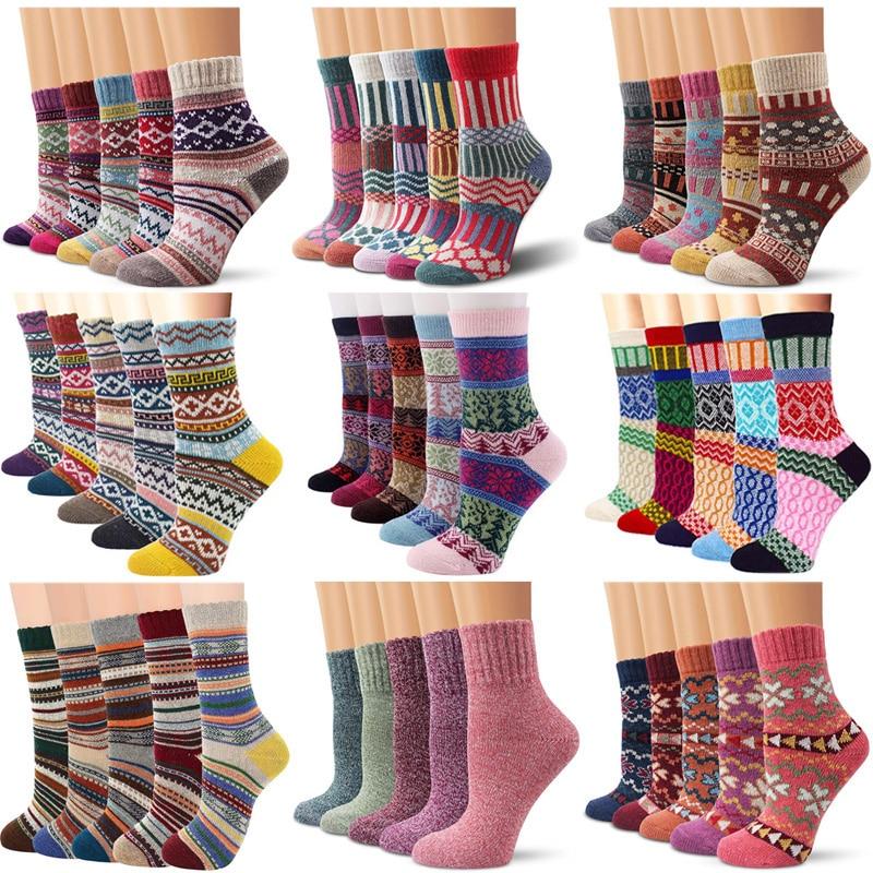 Женские зимние теплые шерстяные носки 5 пар, мужские утепленные теплые кашемировые зимние носки, винтажные Модные Плотные мужские шерстяны...