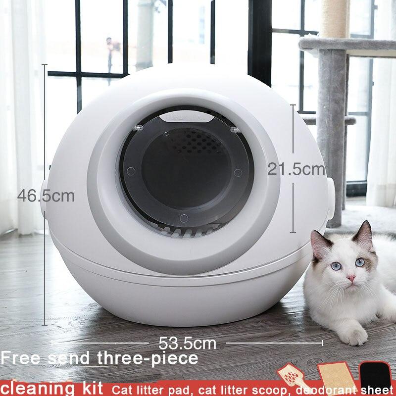 Caixa de Areia Acessórios para Animais Branco Redondo Grande Gato Fechado Auto Cleaningtraining Shorthair Maca pá Chat Toilette Arenero Estimação