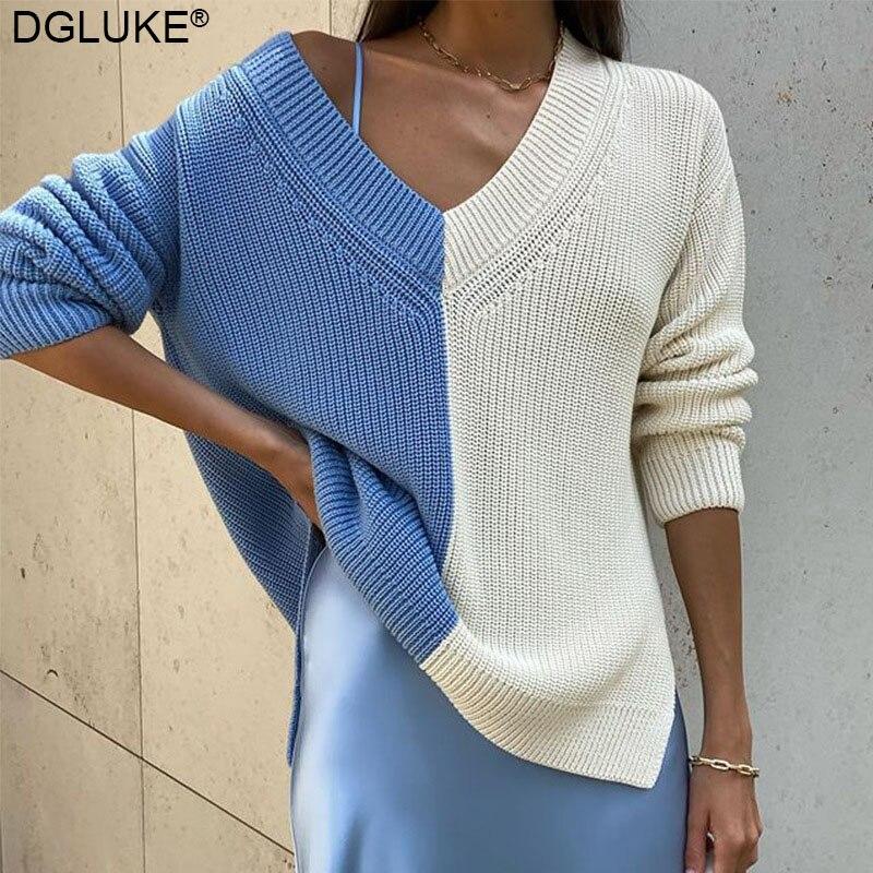 Дизайнерские вязаные свитера с цветными блоками для женщин 2021, Свитер оверсайз с V-образным вырезом и длинным рукавом, Модный женский джемпе...
