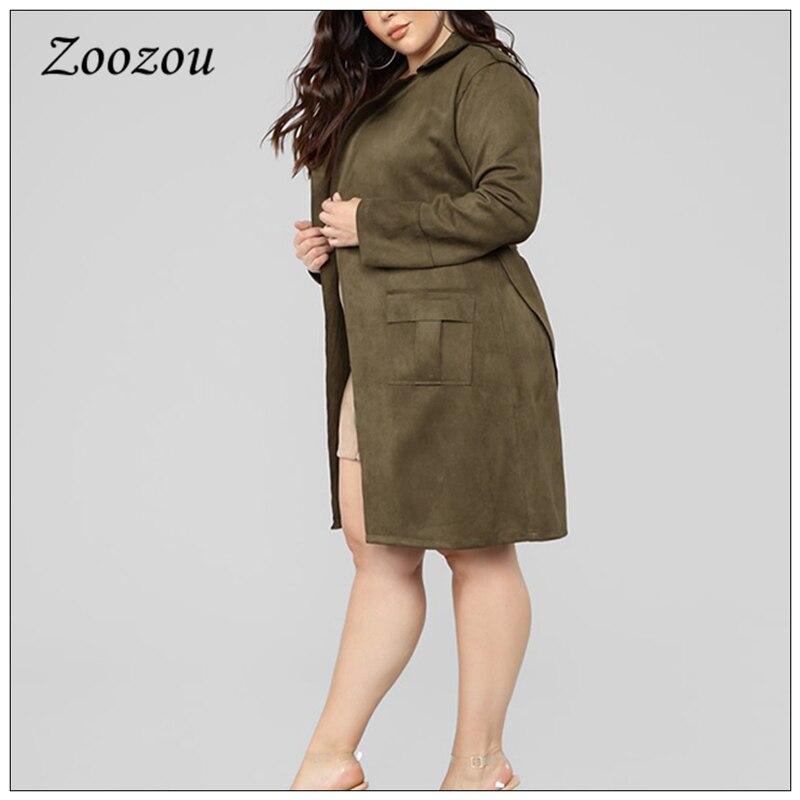 Plus Size Loose Suede Leather Trench Coat Women Winter Tie Belt Warm Outwear Lady Faux Leather Casual Vintage Long Jacket Custom enlarge