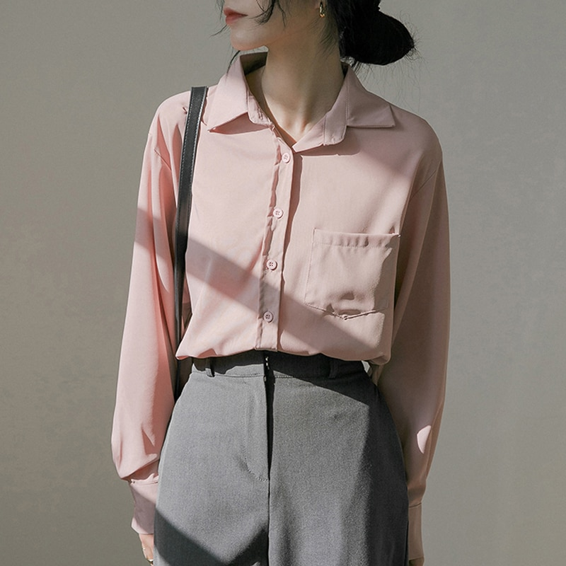 Hcc0a9e7448a24d77bd733823a7666089E - Spring / Autumn Turn-Down Collar Long Sleeves Solid Pocket Blouse
