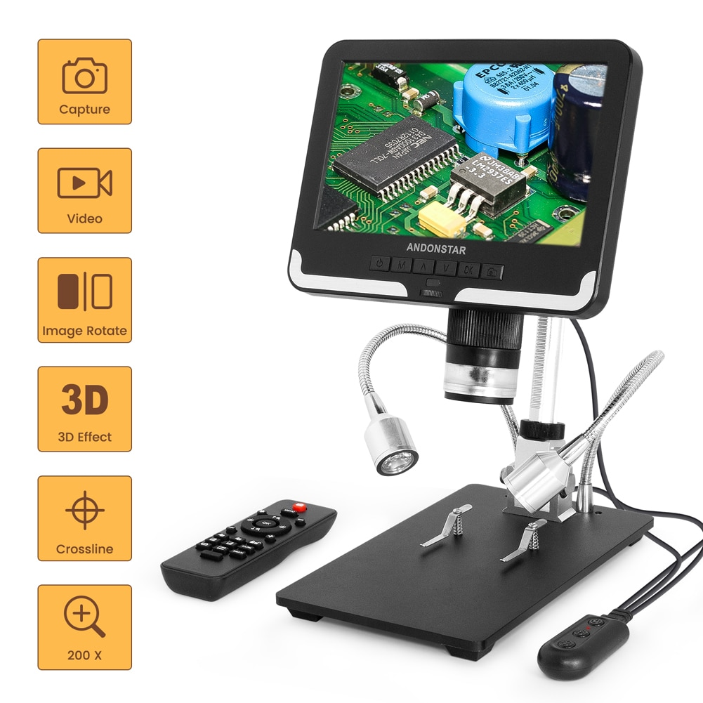 Andonstar AD206 HD مجهر رقمي مع 2 LED ملء أضواء و 7 ''شاشة LCD 2MP 200X المكبر ل CPU لحام PCB إصلاح