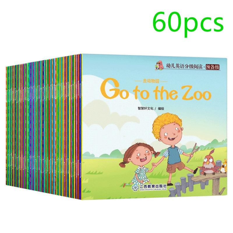 60 pcs Children English Graded Reading 60 Books Picture Book English Picture Book Wholesale Audio Companion Reading Full English
