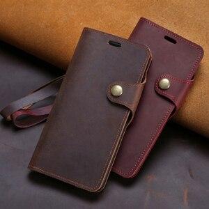 Leather Flip Phone Case For Alcatel 1 1C 1S 1X 3 3L 3V 7 A3 A30 A7 C7 U5 Magnetic Buckle Cowhide Crazy Horse Skin Wallet Bag
