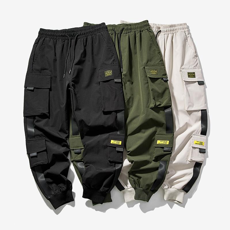 2020 New Hip Hop Joggers Cargo Pants Men Harem Pants Multi-Pocket Ribbons Man Sweatpants Streetwear Casual Mens Pants S-5XL