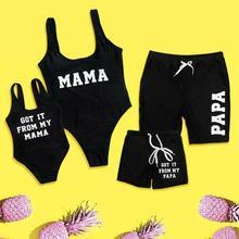 Family Matching Swimsuit Mother Father Girls Boys Swimwear Letter One-Piece Bikini Sets