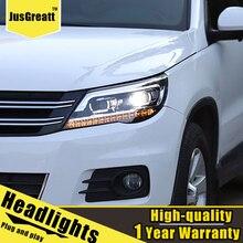 Светодиодный фары для VW Tiguan 2010 2012 светодиодный дневные ходовые огни динамический сигнал би ксенон ближнего света/Дальний свет 1 пара