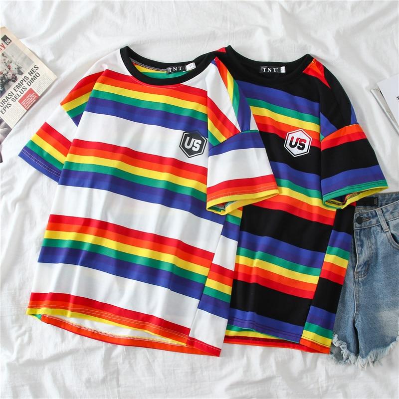 Streetwear camiseta mujer ropa rayas del arco iris Top Harajuku camiseta 2020 verano manga corta coreano Punk camiseta top camiseta