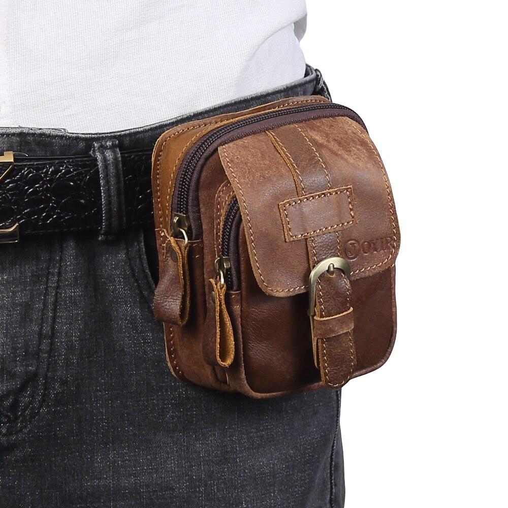 Men's Genuine Leather Belt Waist Bag Outdoor Multi-function Mens Mini Bag Wear Mobile Phone Belt Bag Tool Bag Coin Purse