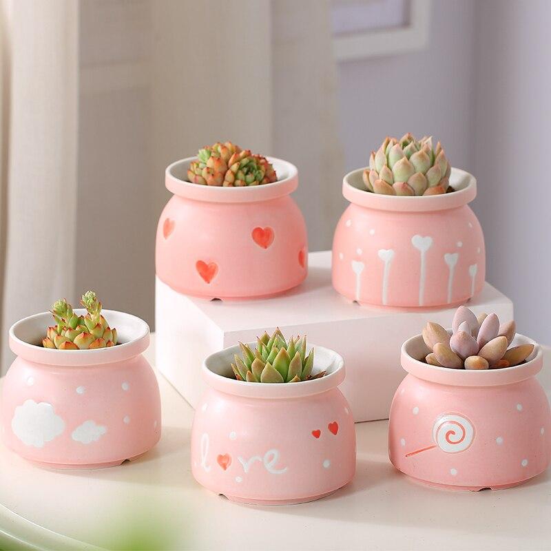 Maceta de cerámica, pote de flor de flores flor, decoración de escritorio de Metal de jardín decoraciones regalo de día de San Valentín