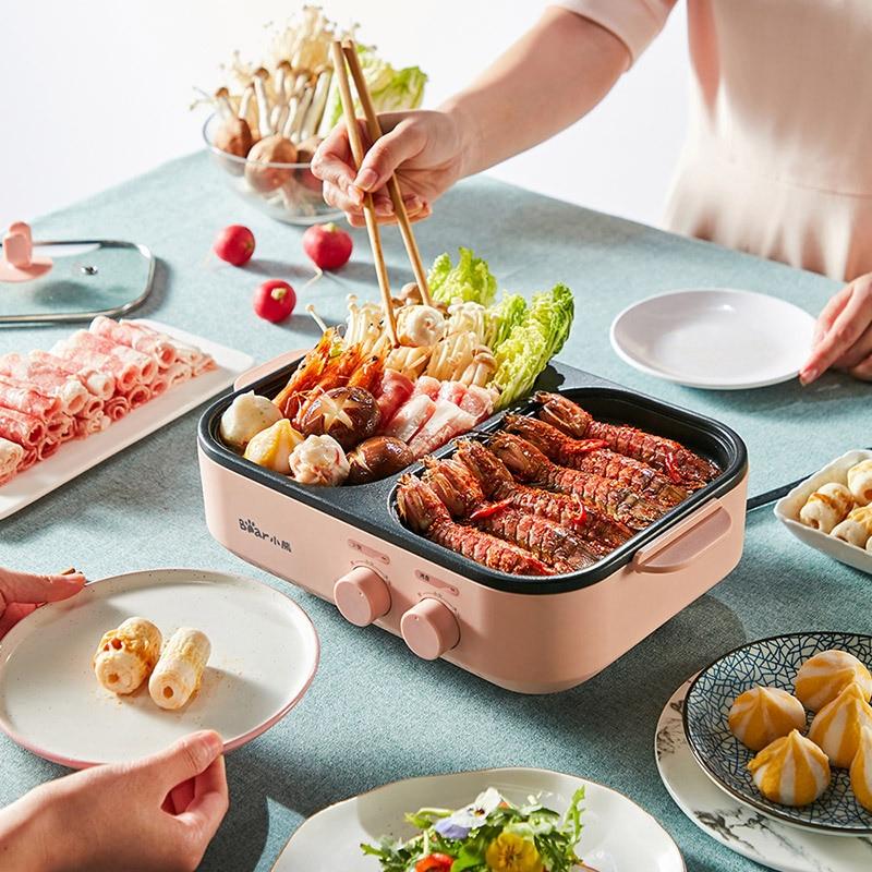 Multifunctional Cooking Pot, Hot Pot, Shabu-shabu, Frying Pan, One Pot Household Electric Roasting Pan Roast Small Oven 242923