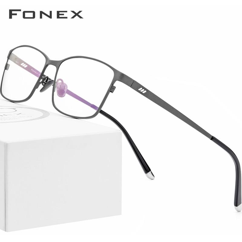 FONEX التيتانيوم النقي النظارات الإطار الرجال مربع نظارات الذكور الكلاسيكية وصفة طبية كاملة النظارات إطارات Gafas Oculos 8505