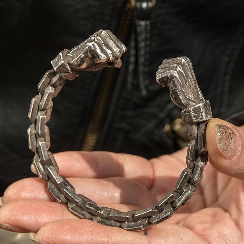 Real 999 Sterling Silver fist Power Mens Heavy Bangle retro Thai silver handmade Bangle Cuff Bracelet Jewelry Free Shipping
