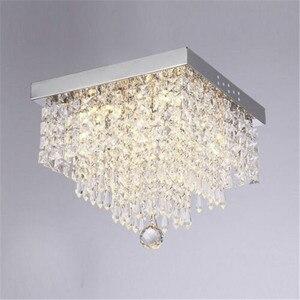 Modern Crystal Led Chandeliers Lighting Square LED Lamps Lustre For Living Room Crystal LED Chandelier Ceiling Lamp Luminaire