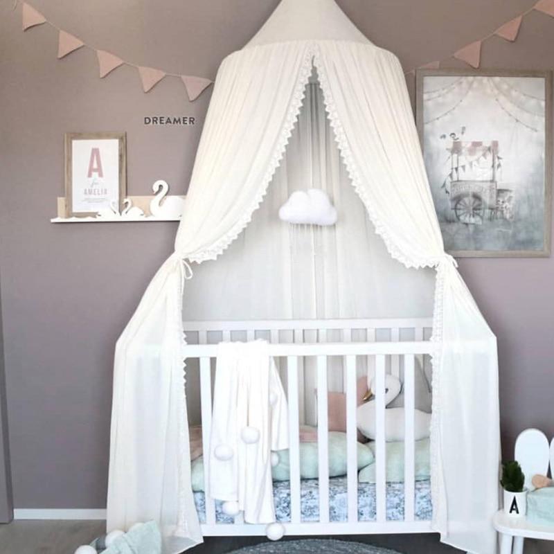 Chiffon Baby Room Mosquito Net chico cama cortina dosel redondo cuna red tienda baldachín 240cm decoración dormitorio niña dosel cuna
