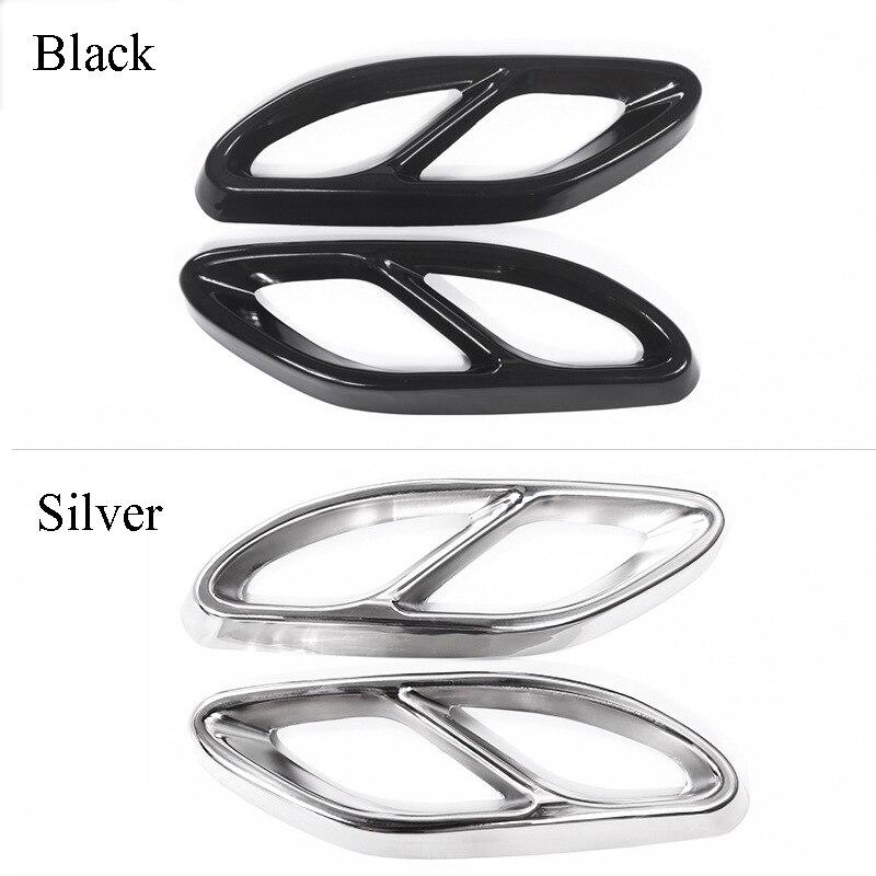 Cuatro salida de escape, tubo de escape de la garganta Acero inoxidable decorativo pegatinas para Mercedes-Benz A B C E serie GLC GLS 14-20
