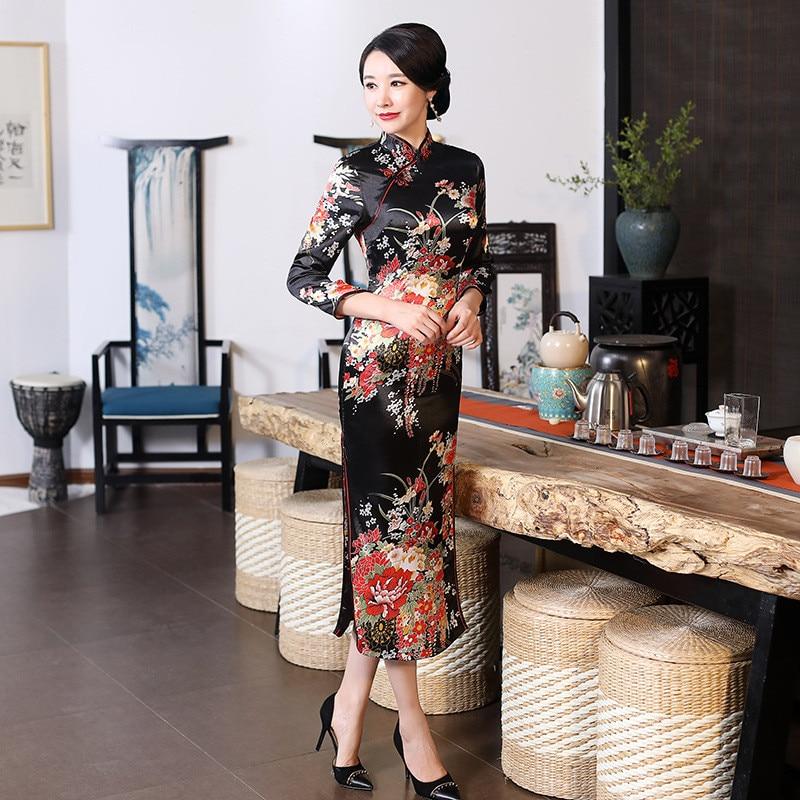 Plus Size XXXL Women Classic Cheongsam Rayon Floral Elegant Evening Party Dress Traditional Mandarin Collar Chinese Qipao