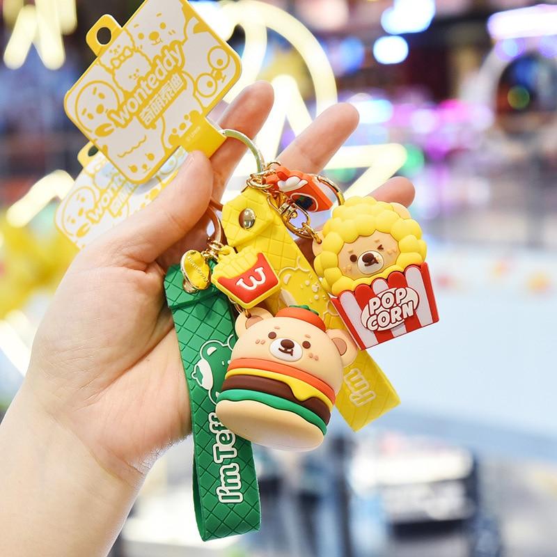 Cartoon Food Teddy Bear Keychain Kawaii Mini Hamburg Milk Tea Animal Trinkets Bag Car Pendant Childrens Gift Keyring Charm
