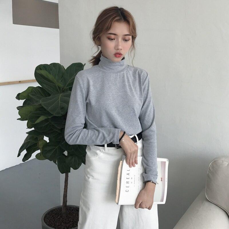 Casual perezoso de cuello alto Mujer Camisetas Camiseta Tops Kawaii japonés señoras Ulzzang femenino coreano ropa Harajuku para mujeres