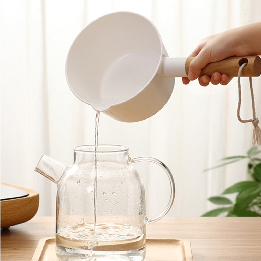 Kitchen Wooden Long Handle Water Ladle Bathroom Bailer White Water Scoop Home Accessories