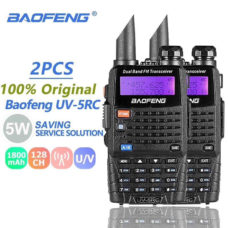 2 uds. Baofeng UV-5RC Walkie Talkie, Radio de caza VHF UHF de doble banda, Radio CB Ham, comunicador Baofeng Uv-5r Plus Woki Toki 10 KM