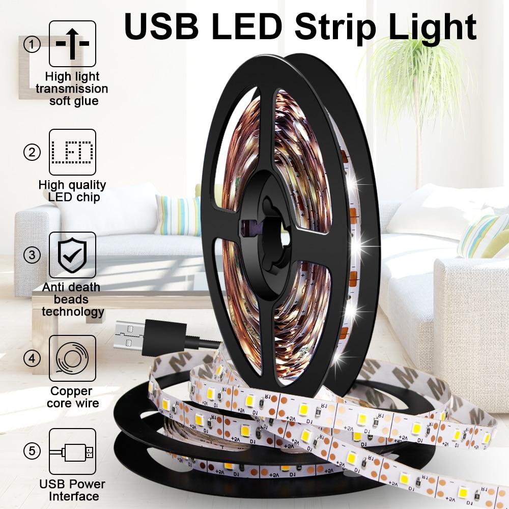 AliExpress - USB Strip LED Night Light TV LED Ribbon Flexible Light Tape 5V Cabinet Lamp LED Decoration Strip Lamp 0.5m 1m 2m 3m 4m 5m 2835