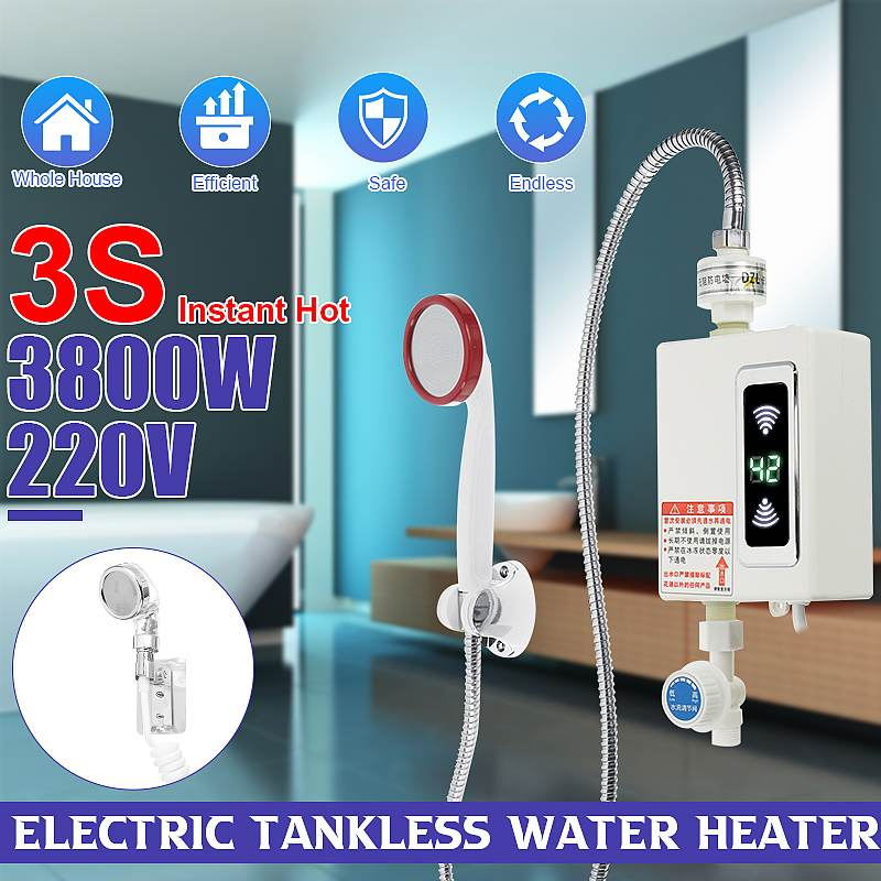 Bathroom Instant Water Heater with Shower Head Home Hot Shower Water Heaters LCD Digital Temperature Display 3-second Fast Heat