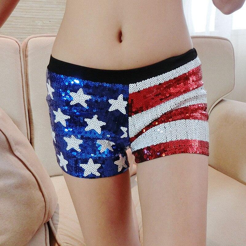 Novedad nuevo diseño Sexy bandera americana Mini pantalones cortos de lentejuelas de cintura media pantalones cortos brillantes pantalones para damas con la mejor calidad