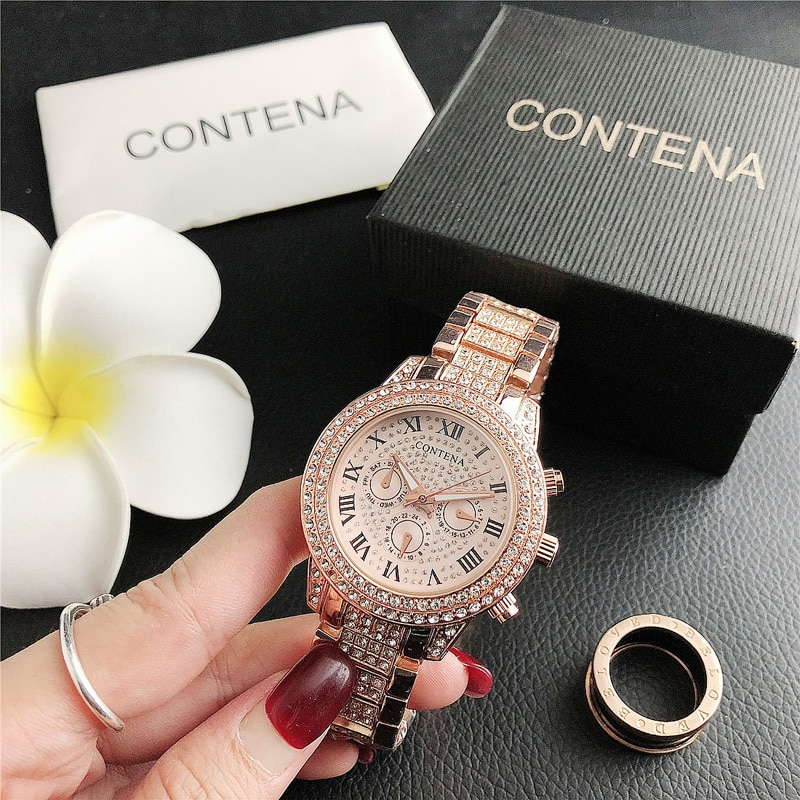 YUNAO Quartz Watch Fashion Trend Electroplating Diamond Ring Ladies Business Watch Stainless Steel Simple Business Quartz Watch enlarge