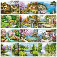 Peinture de diamant 5D a mosaique de maison  bricolage  Art de paysage  perceuse carree ou ronde  decorations de maison  paysage de printemps