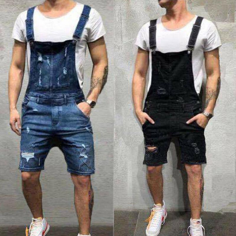 2020 moda męska porwane jeansy kombinezony spodenki letnia moda uliczna Distressed Denim jednoczęściowy kombinezon na szelkach dla mężczyzny spodnie na szelkach