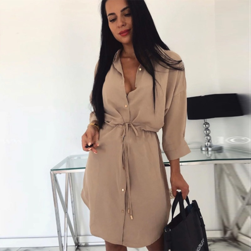 Women Vintage Front Button Sashes A-line Dress Long Sleeve Turn Down Collar Solid Elegant Casual Dress 2020 Autumn Fashion Dress women casual sashes mini dress office ladies v neck long sleeve buttons dress 2020 fashion autumn solid elegant a line dress