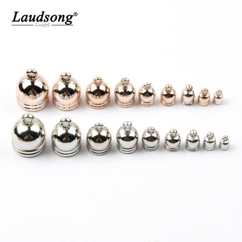 Cuentas de casquillo de borla redonda de Color oro rosa/plata de 6-18MM para cuerda de cuero para cuello, accesorios de engarce para fabricación de joyería DIY