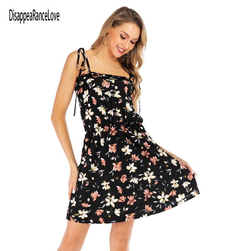 DisappeaRanceLove Vintage Black Floral Print Women Dresses France Chiffon Short Sleeve Dress Women