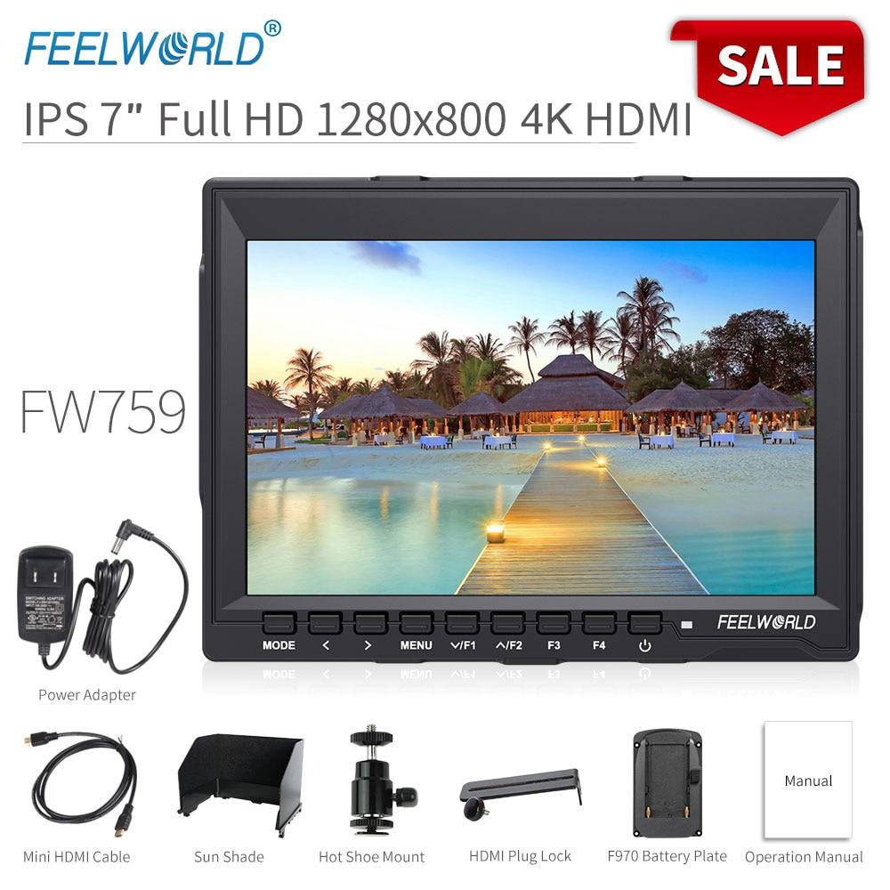 FEELWORLD FW759 7 Inch DSLR Camera Field Monitor 4K HDMI AV Input IPS HD 1280x800 LCD Display Video Assist Protable for Camera