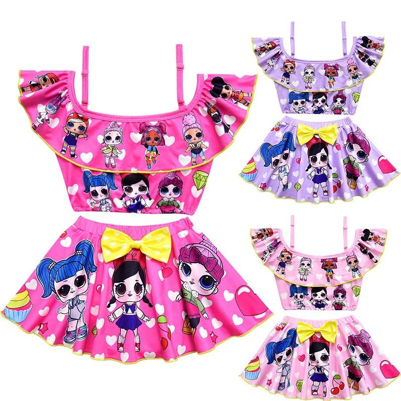 Детский комплект бикини с бантом для маленьких девочек; Купальный костюм с оборками; Купальный костюм; Костюм с рисунком; Одежда; Пляжная одежда; Платье для девочек