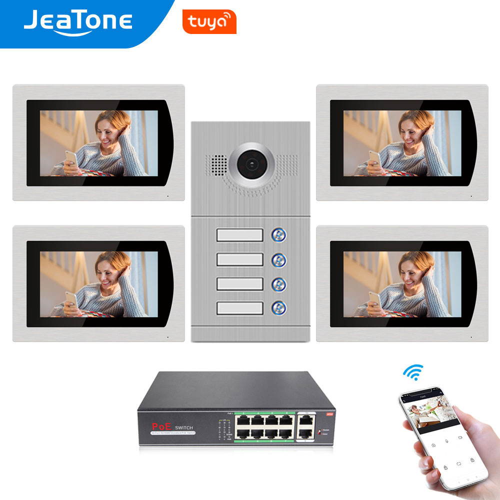 Jeatone 7''Touch Screen WiFi IP Video Door Phone for 4 Apartments with 8 Zone Alarm,Support Free Tuya Smart APP Control Function