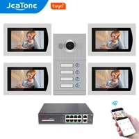 jeatone 7touch screen wifi ip video door phone for 4 apartments with 8 zone alarmsupport free tuya smart app control function