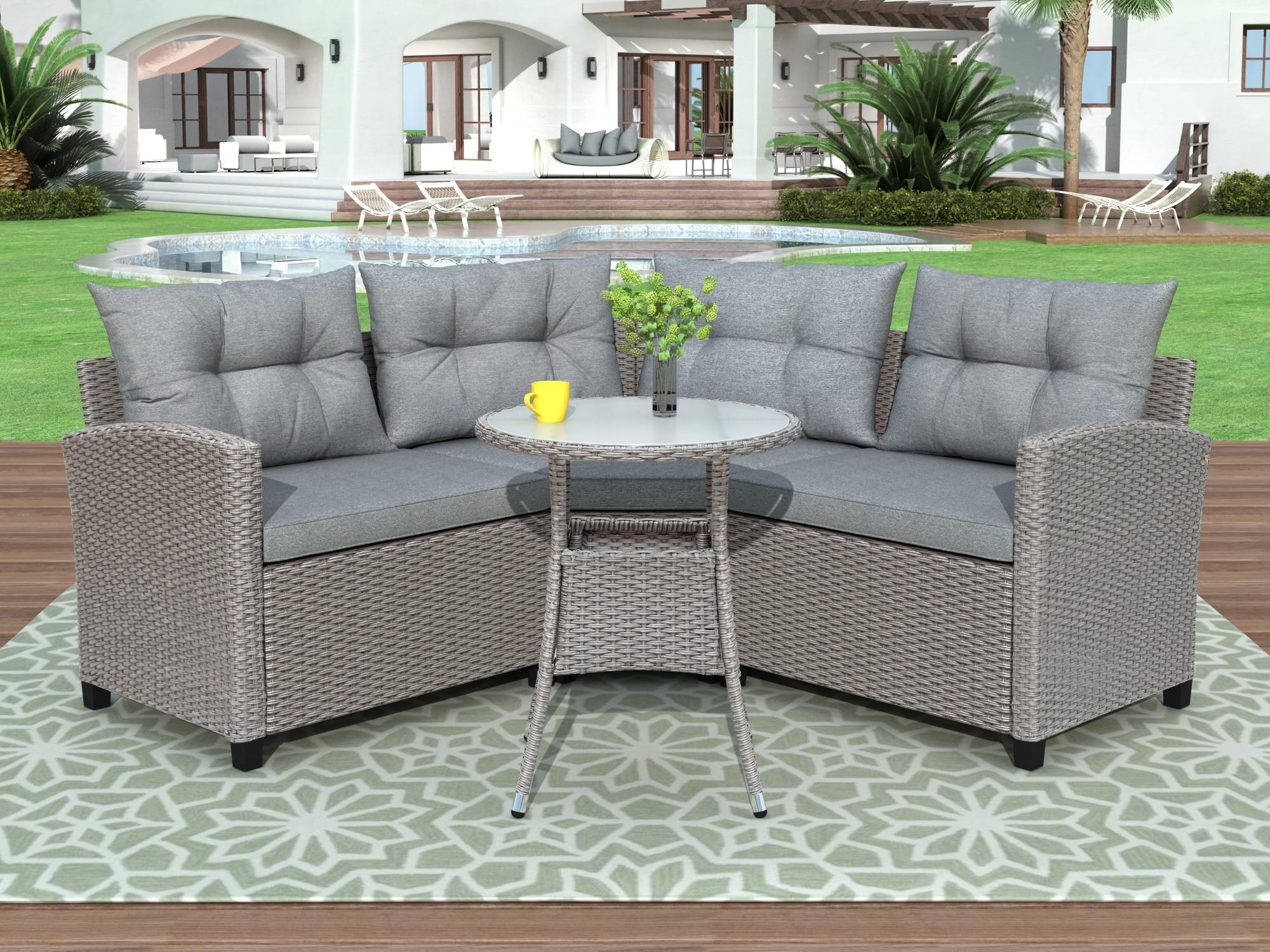 Смола плетеная патио мебель комплект с круглый стол Сад секционный диван комплекты для открытый бассейн Размеры мебель Прямая доставка