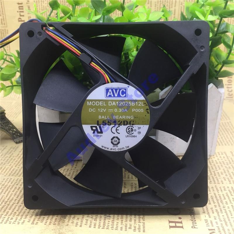 Avc 12 cm 4pin 12 v 0.3a pwm controle de temperatura duplo rolamento de esferas ventilador da12025b12l p005 2500 rpm 89cfm 64 pa ventilador de ar