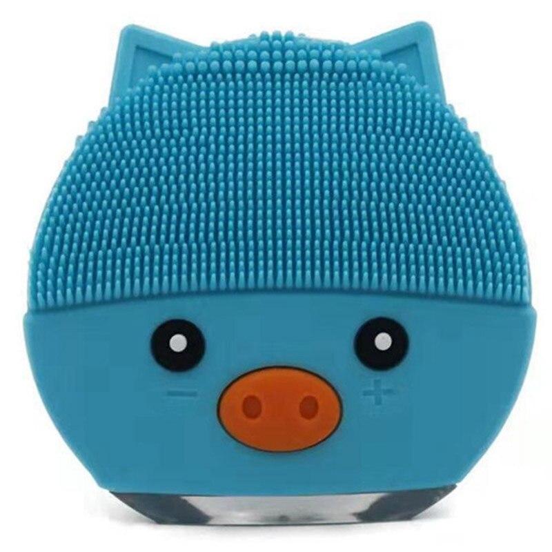 Cepillo de limpieza Facial eléctrico azul de dibujos animados, limpiador de poros faciales, masaje de silicona USB, ultrasónico de vibración profunda