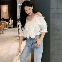 korean women fashion 2021 summer sling super western style short sleeved sexy ruffled chiffon shirt tops one word strapless tops