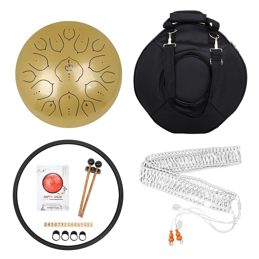 M MBAT Steel Tongue Drum 13 Inch 15 Tone Ethereal Hand Pan Tank Drum Golden Percussion Instrument Yoga Meditation Musical Gift enlarge