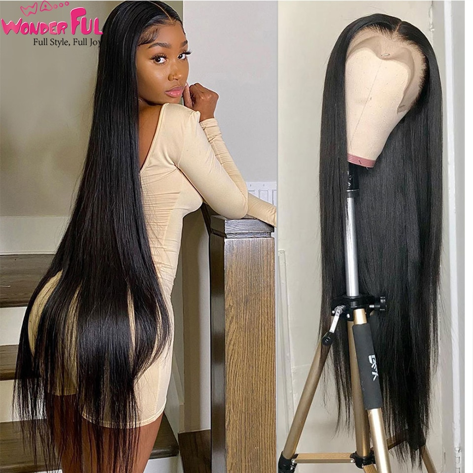 Wawonderful Lace Frontal Wig Straight Human Hair Wigs Lace Front 360 Brazilian Straight Frontal Wig Pre Plucked with Baby Hair