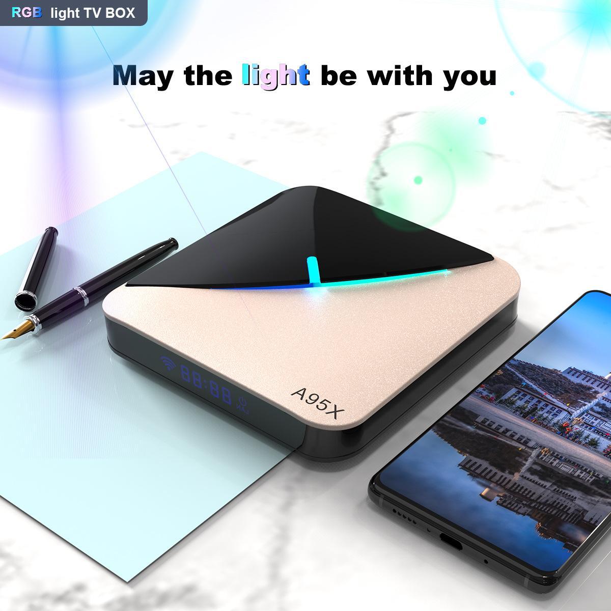 Android 9,0 RGB de luz inteligente TV caja Amlogic S905X3 USB3.0 1080P H.265 4K 60fps Wifi Google Play Netflix, Youtube A95X F3 aire 8K